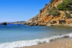 Lonely cove in Ibiza Island, Spain Stock Images