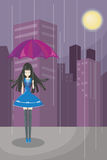 Lonely Cute Girl (vector). Lonely cute girl walking alone with skyscraper background. The more advance technology, the more empty in mind Royalty Free Stock Images