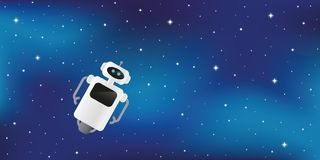 Lonely cute robot lost in starry space stock illustration