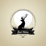 Lonely Deer buck on fool moon badge Royalty Free Stock Photography