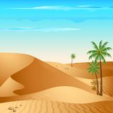 Lonely Desert. Illustration of desert with palm tree in day light Stock Image