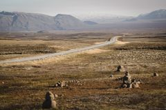 Lonely desert road in icelland royalty free stock photos