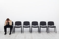 Lonely and desperate businessman stock images