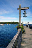 Lonely Dock. Empty and quiet dock reaching out into Frenchman's Bay, Bar Harbor, Maine, usa stock photo