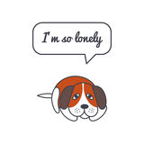 Lonely dog with speech bubble and saying. Vector color line illustration card on white background. You can put your own text in the bubble. Dog adoption concept Royalty Free Stock Images