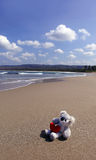Lonely dolls on sand Stock Image