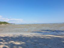 Lonely dream beach at thailand koh yao noi by low tide ebb and flow. Lonely dream beach at thailand koh yao noi ebb and flow at low tide royalty free stock photos