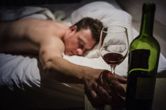 Lonely Drunk Man Sleeping Stock Photos