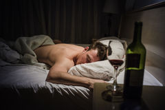 Lonely Drunk Man Sleeping Royalty Free Stock Image
