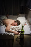 Lonely Drunk Man Sleeping Royalty Free Stock Images