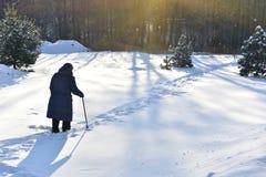 Lonely elderly woman stock photos