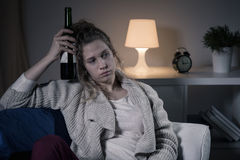 Lonely evening with wine Stock Photography