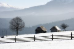 Lonely farm in winter Royalty Free Stock Photo