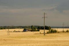 Lonely farmhouse & upcoming heavy rain stock photos