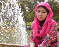 Lonely female muslim in park Stock Image