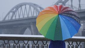 Spinning rainbow umbrella during snow. Lonely female spinning colors rainbow umbrella in winter during snowfall and. Urban bridge architecture at the background stock video