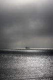 Lonely fisher. A photo of a fishing boat royalty free stock photos