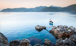 Lonely fisherman boat stock images