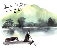 Lonely fishman in the boat. Fishman in the boat. Chinese landscape with mountain, birds, river, trees, pagoda. Watercolor and ink illustration of nature, sumi-e Royalty Free Stock Photos