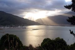 Lonely fjord. Evening twilight at a beautiful lonely fjord in New Zealand royalty free stock photos