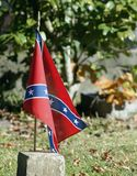 Lonely flag. Lonely confederate flag on a North Carolina grave Stock Image