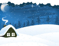 Lonely forest hut vector illustration
