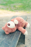 Lonely forgotten teddy bear toy lying on the bench. Royalty Free Stock Photo
