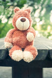 Lonely forgotten teddy bear toy. Sadness. Royalty Free Stock Images