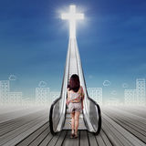 Lonely girl doing spiritual journey Stock Images