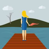 Lonely Girl Flat Stock Images