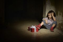 Lonely girl with gift Royalty Free Stock Photography