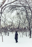 Lonely girl stands in winter snowy city park Stock Photography