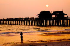 Lonely girl at sunset moment at the Pier Royalty Free Stock Photo