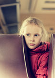 Lonely girl in a train Stock Photo