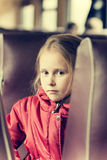 Lonely girl in a train Royalty Free Stock Image