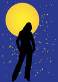 Lonely girl vector illustration. Lonely girl at night vector illustration Royalty Free Stock Photos