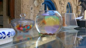 Lonely goldfish. One goldfish in small circle aquarium with reflection of street standing on glass table near plate and glass of jellybeans outside in small Stock Images