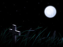 Lonely gravestone in the wild crops field. Under full moon at night (other landscapes are in my gallery Royalty Free Stock Image