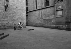 Lonely guitar player in Barcelona Royalty Free Stock Photography