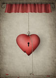 Lonely heart. Greeting card on Valentine's Day, painted in Photoshop, and the same picture used ropes and cornice Royalty Free Stock Photos
