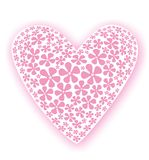 Lonely heart. Illustration of pink flowers on a white heart shape with pink shadow around it could be used as greetings card Royalty Free Stock Photos