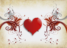 Lonely heart. Vintage love consepts background and red heart Royalty Free Stock Photos