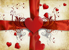 Lonely heart. Vintage love consepts background and red heart Stock Photo