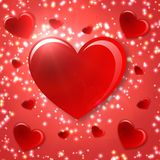 Lonely heart & flowers. Valentines day background whit red heart and sparkles Stock Photo
