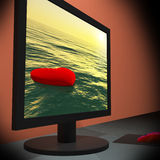 Lonely Heart On Monitor Showing Loneliness Royalty Free Stock Photography