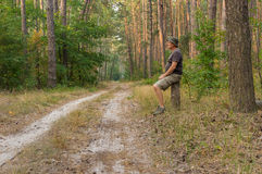 Lonely hiker sitting on a stub Royalty Free Stock Image