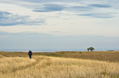 Lonely hiker is walking through flat prarie terrain Royalty Free Stock Image