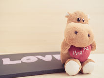 Lonely hippo doll in vintage tone Royalty Free Stock Image