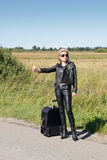 Lonely hitchhiker Stock Images