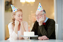 Lonely Holiday for Senior Couple Royalty Free Stock Photography